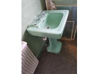Vintage Art deco style Aqua vintage basin