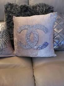 Sparkly Cream or grey velvet cushion