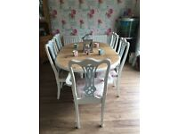 Solid pine dining table and six chairs