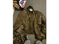 Motorbike leather Akito jacket