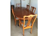 YEW DINING TABLE CHAIRS