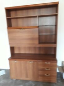 A nice drinks/display cabinet, 1 single bed, 3 armchairs, 1 sideboard, collect by 20th April