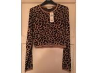 MISS SELFRIDGE ladies women's leopard jumper crop top NEW knitwear 12 tags.