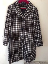 Ladies Coat - Black,Grey and White pattern. Hardly worn size 20 VERY SMART and warm