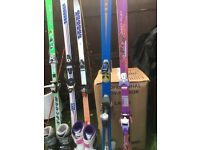 Selection of Ski's,Bindings Poles and 2 ski bags