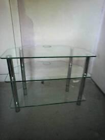 Glass corner tv/dvd stand