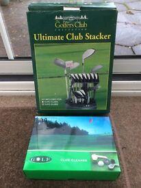 Golf club organiser and cleaner
