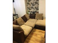 Material corner sofa + chair, excellent condition ,