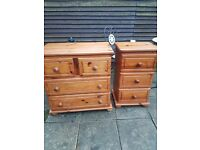 Set of 2 solid pine bedroom units
