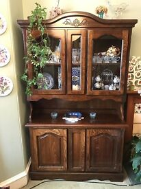 Glass Front Display Cabinet + Handcarved Bookcase