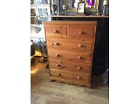 A GREAT QUALITY WAXED SOLID PITCH PINE ANTIQUE STYLE CHEST OF DRAWERS FREE LOCAL DELIVERY