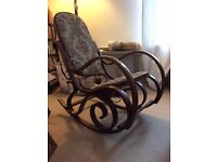 Antique Bentwood Rocking Chair - Vintage Embroidered Style