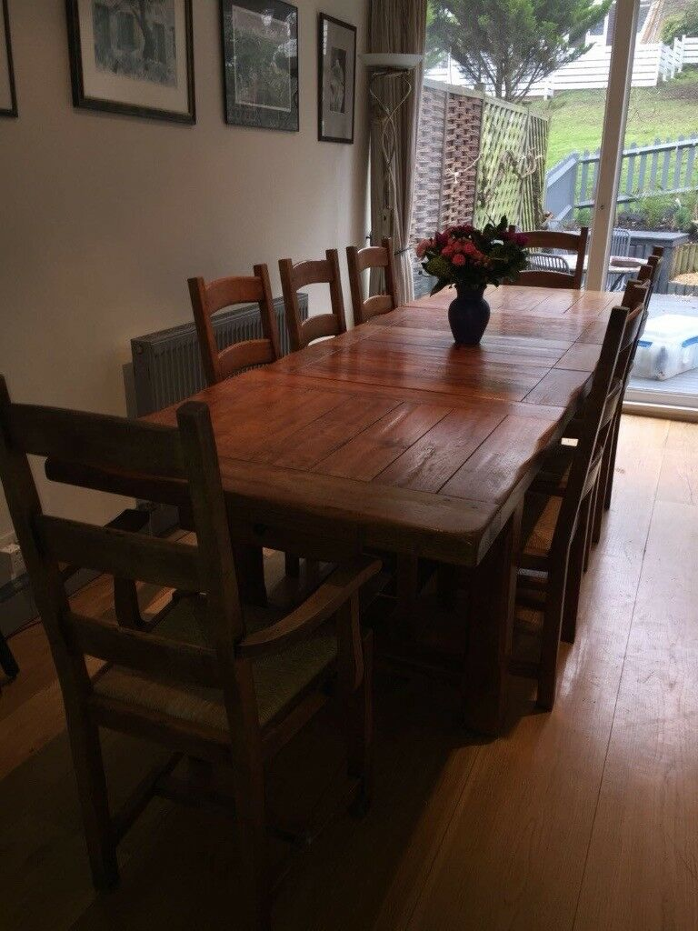 Swell Rustic And Chunky Farmhouse Table In Solid Old Dark Oak With 8 Seats In Dulwich London Gumtree Home Interior And Landscaping Oversignezvosmurscom
