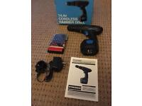 Power base 14.4V Cordless Hammer Drill with bits, charger, used once in box