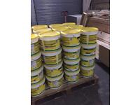 Large buckets of white tile adhesive 10 litres tubs