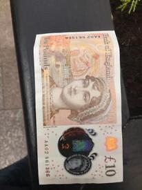 But brand new Jane Austen note with a really low serial number