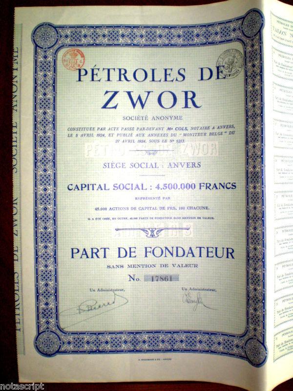 Petroles de Zwor, Poland  share certificate 1924