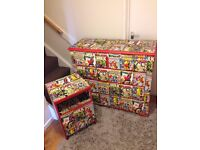 mavel comic 1 door bedside table + 5 drawer chunky chest of drawers - WOW - Boys Furniture Funky