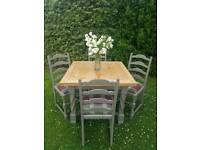 Country style / farmhouse oak table with chairs