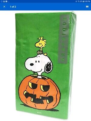 PEANUTS SNOOPY WOODSTOCK NAPKINS HALLOWEEN PKG OF 32 LARGE NAPKINS NEW