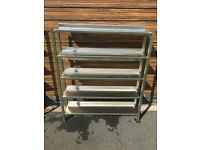 Stainless steel catering shelving racks x2