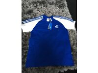Men's Adidas originals blue and white California t shirt Large