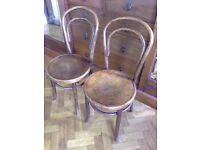 2 x Vintage antique Art Deco Bistro Bentwood Thonet style Fischel cafe Chairs
