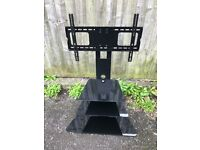 Black glass cantilever TV stand for screens up to 55 inch