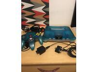 Blue & White Nintendo 64 console