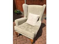 Wing back chair and cushion for sale