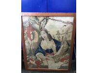 "Antique 1860-1880 Framed Tapestry 30"" X 24"" Various Thread Gauges Lady Portrait Colour"