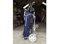 Spalding golf clubs, bag and trolley
