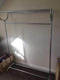 Silver clothes rail