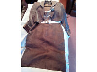 Dress and jacket by Gold Size 12 Coffee coloured with a blue shimmer
