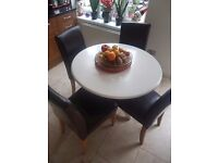 4 REAL LEATHER CHAIRS FOR SALE IN BATTERSEA ,VERY GOOD CONDITION