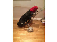 FULL GOLF SET - SLAZENGER XTC IRONS - WILSON WOODS - BAG & TROLLEY