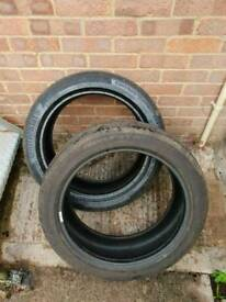 Pair continental Conti sport contact tyres 225 45 r18 run flat