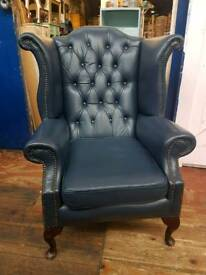 Dark Blue Chesterfield Queen Anne Chair