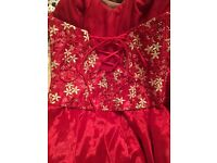 Red Floral Bodice Prom Dress