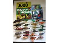 Large Bundle Of Dinosaur Figures x 34 & 1000 dinosaur stickers book