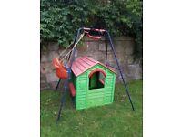 Garden toys: playhouse, swing, slide, sandpit, table etc