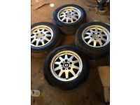 Set of 4 BMW 3 SERIES Alloy wheels with 4 almost new matching tyres 195 55 15 5 stud