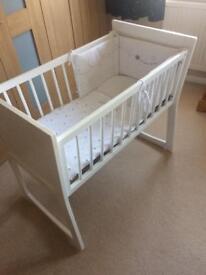 Beautiful white Crib, mattress and bedding