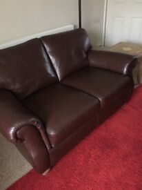 2 seater leather sofa and single chair