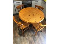 Round pine table and 4xmatching chairs