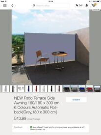 Patio terrace side awning