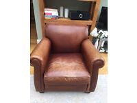 Laura Ashley distressed brown leather armchair