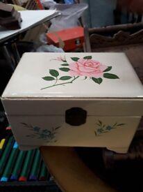 Jewellery Box - vintage white wood.