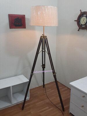 Handmade CLASSIC Vintage Tripod FLOOR Shade LAMP Antique floor Lamp Brass