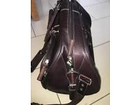 Leather Holder And Matching Messenger/Laptop Bag- Preowned- Gino Ferrari